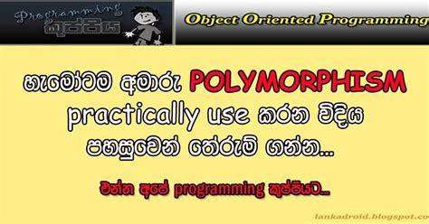 html tutorial sinhala oop sinhala tutorial part 13 polymorphism exle