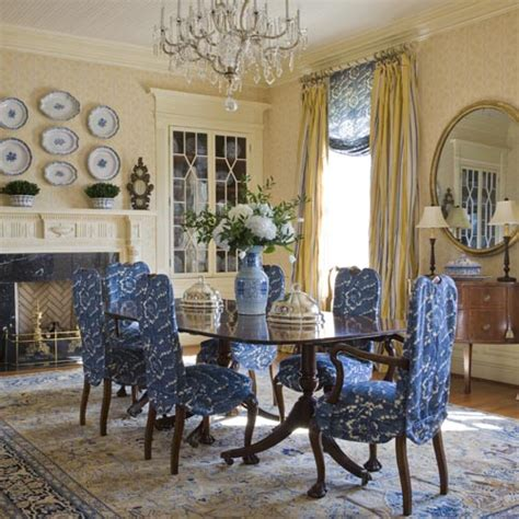 Blue And White Dining Room by The Enchanted Home