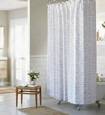 white seersucker curtains threshold white and blue seersucker shower curtain new ebay