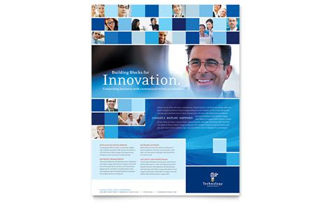 Technology Consulting It Flyer Template Word Publisher Computer Consulting Website Template
