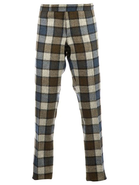 Kacamata Thombrowne 6 lyst thom browne checked trouser in green for