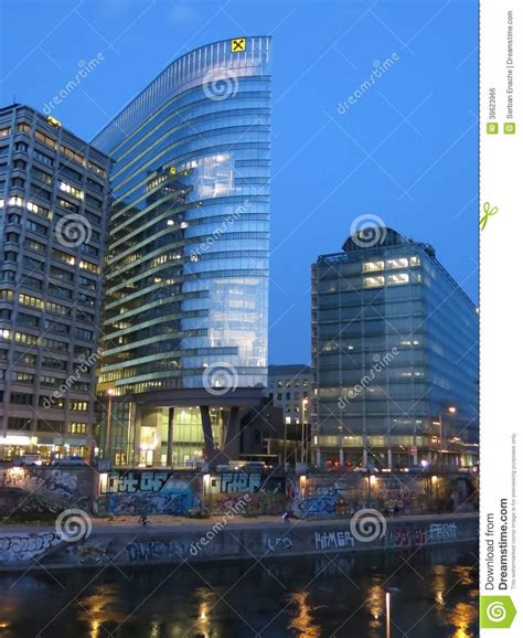 raiffeisen bank vienna austria raiffeisen tower on donaukanal in vienna editorial photo