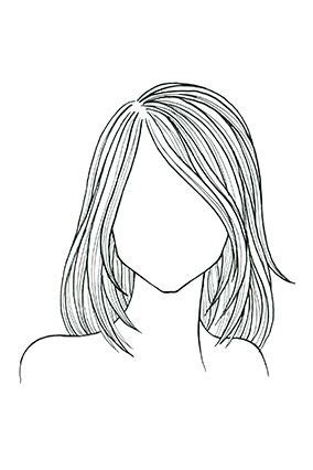 Medium Length Hairstyle Sketches | straight hair square face a shoulder length cut with
