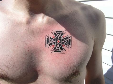 maltese cross trasery tattoo on chest tattooimages biz