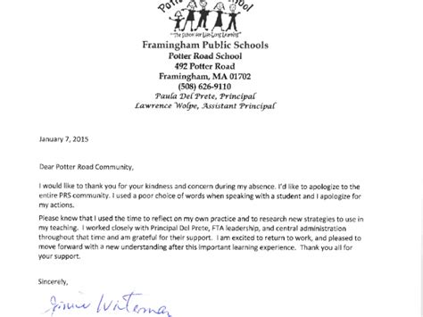 Sle Letter To School Principal For Absence Due To Illness Potter Road Issues Apology For Poor Choice Of Words Framingham Ma Patch