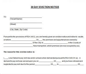 30 Day Eviction Notice Template Template Business Nc Notice To Vacate Template