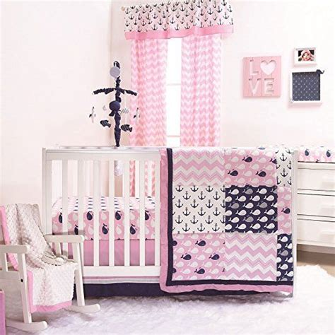 Nursery Decor Set Nautical Whales And Anchors Pink 3 Crib Bedding Set By The Peanut Shell Baby Crib