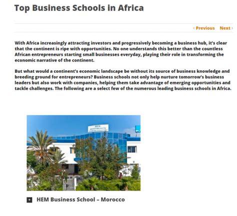 Top Mba Programs In Massachusetts by Hem Among Top Business Schools In Africa Hem Ecole De