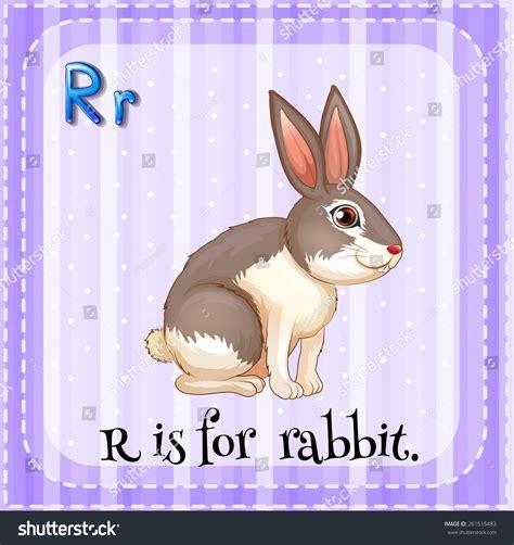 flash card letter r is for rabbit stock vector illustration 261515483 shutterstock