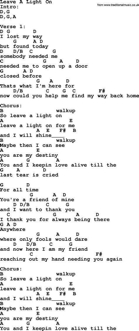Leave The Light On Lyrics by Leave A Light On By Garth Lyrics And Chords