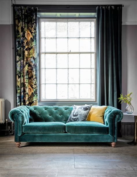 velvet chesterfield sofa by grey