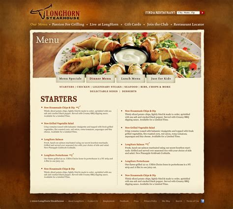 web design menu layout steakhouse web design erman erkur