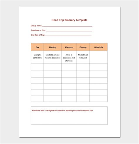 road trip itinerary template vacation itinerary template 5 planners for word doc