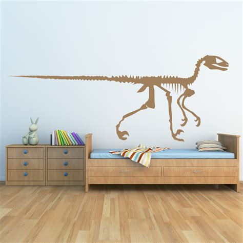large dinosaur wall stickers velociraptor skeleton dinosaurs wall decals wall