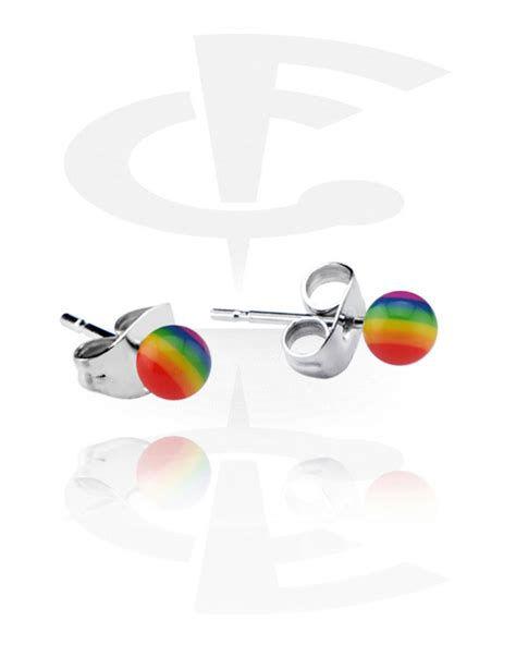 Rainbow Ear Stud rainbow ear studs surgical steel 316l factory