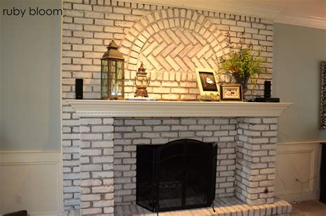 ruby bloom painted brick fireplace