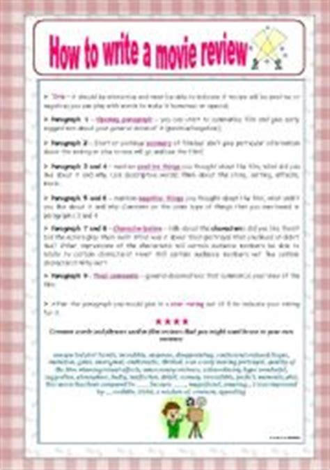 english worksheet how to write a movie review