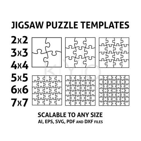jigsaw puzzle templates ai eps svg  dxf files square