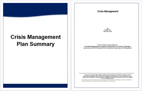 crisis management plan template executive summary template for crisis management