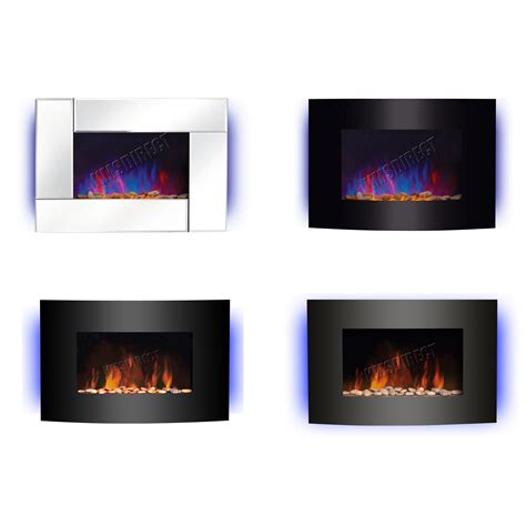 wall mounted electric fireplace glass heater remote