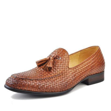 mens loafers s woven leather loafers with tassel cw750059