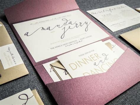 aubergine pocketfold wedding invitations modern wedding invitations metallic wedding invitation