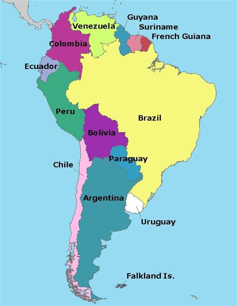 brazil map and surrounding countries