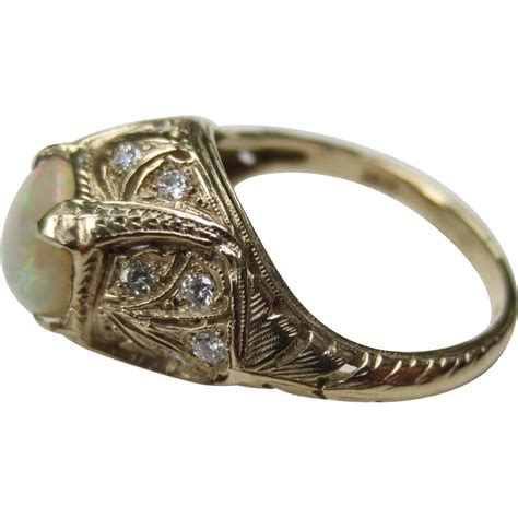 opal deco ring vintage 18k yellow gold opal deco ring from