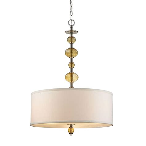 Interior Pendant Lighting Fifth And Lighting Fizz 3 Light Satin Nickel Interior Pendant With Beige Fabric And