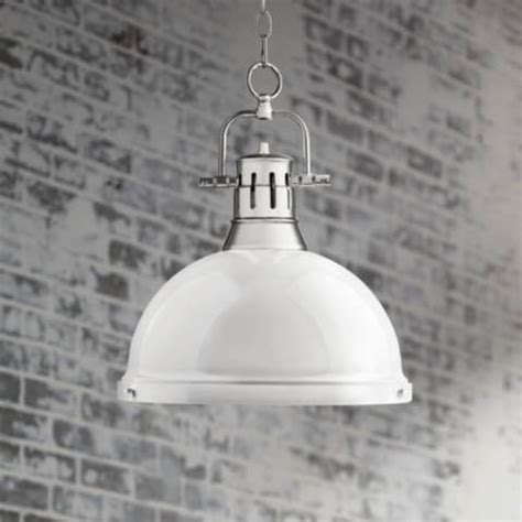 Jns316 Offwhite Superbig duncan chrome 14 quot wide contemporary white pendant light