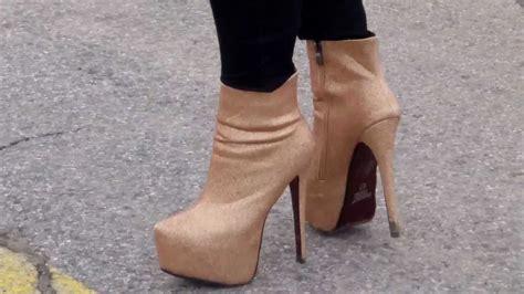 walking in high heel boots white walking in high heels platform golden designer