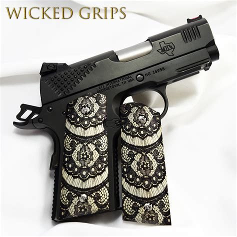 Softlens X2 Lace Black Series custom 1911 officers grips quot black lace quot grips