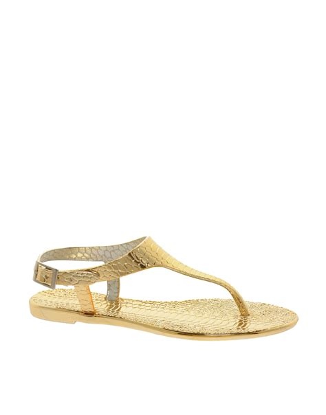 gold jelly sandals lyst river island gold jelly sandals in metallic
