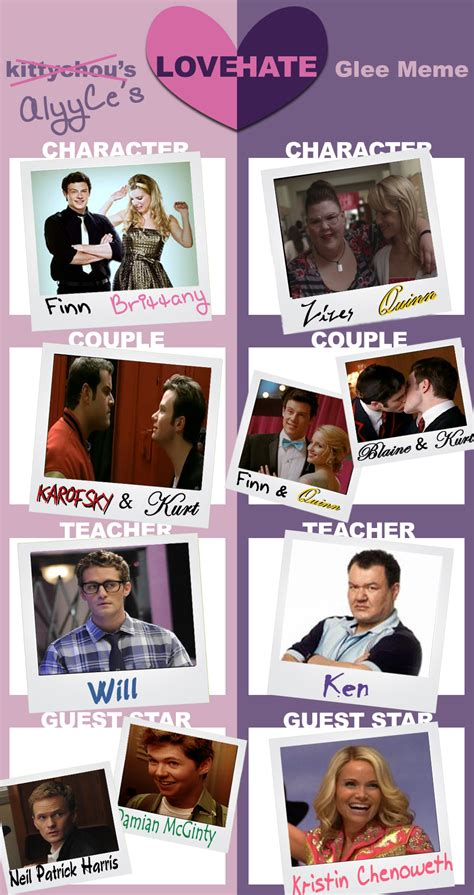 Glee Meme - glee love hate meme by alyyce on deviantart
