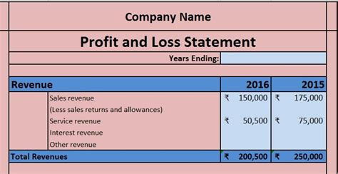profit  loss account excel template excel