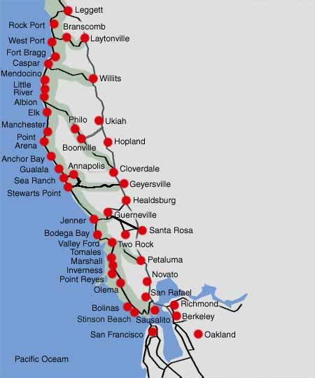 northern california coastline map scenic drives