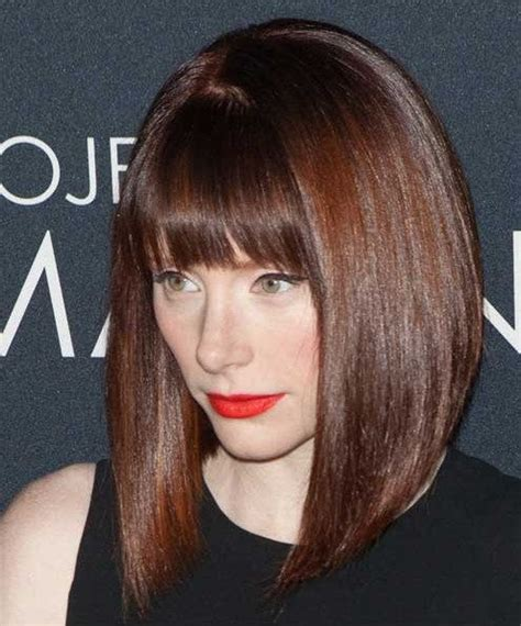 long inverted bob hairstyles  bangs  straight sleek hair  formal event  concave