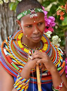 massai adorning colourful and traditional dress sout