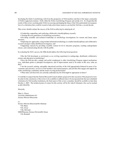Request Letter To Conduct Seminar appendix a letter requesting this study assessment of the nasa astrobiology institute the