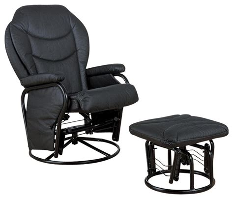 black glider and ottoman coaster black leatherette glider with ottoman gliders