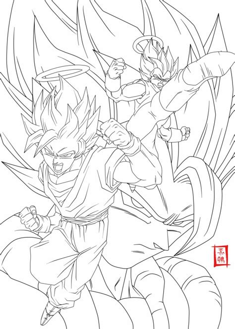 dragon ball z fusion coloring pages fusion lineart by snakou on deviantart