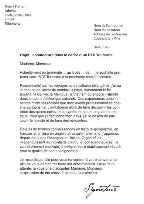 Lettre De Motivation Pour Visa Touristique Lettre De Motivation Bts Tourisme Mod 232 Le De Lettre
