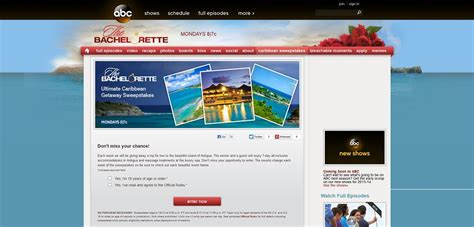 Bachelorette Sweepstakes - abc com thebachelorette the bachelorette ultimate caribbean getaway sweepstakes