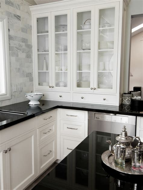 white kitchen cabinets with glass tile backsplash glass front kitchen cabinets transitional kitchen