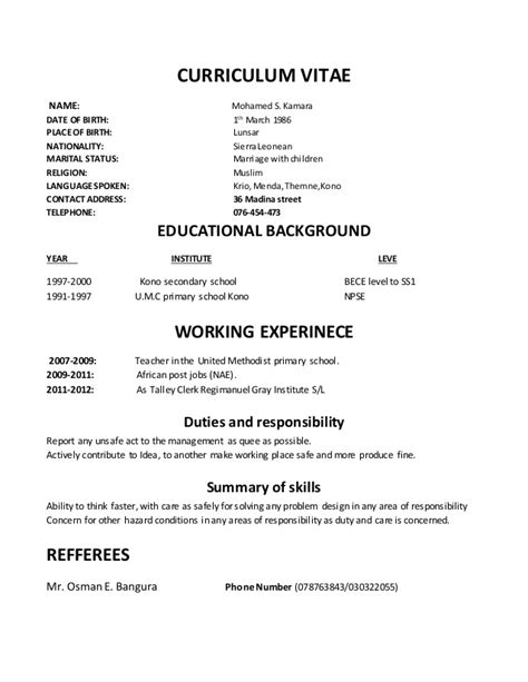 resume format date of birth cv