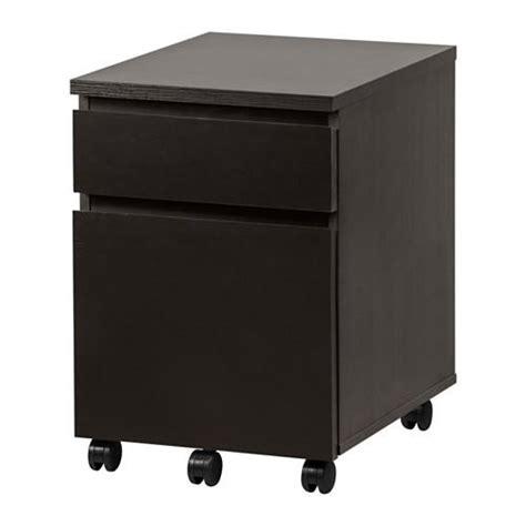malm comodino malm cabinet con cassetti su ruote nero e marrone 303
