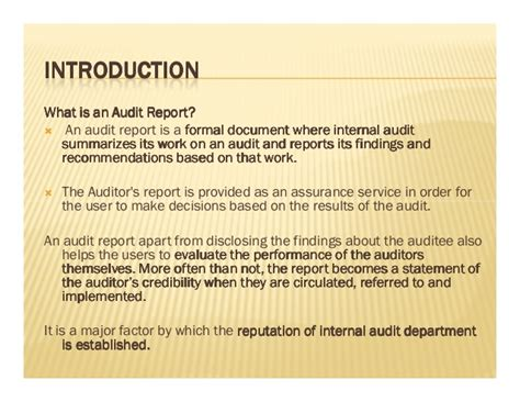 sle of audit report writing audit report writing
