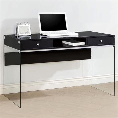 modern black desk with drawers contemporary modern style glass home office glossy black