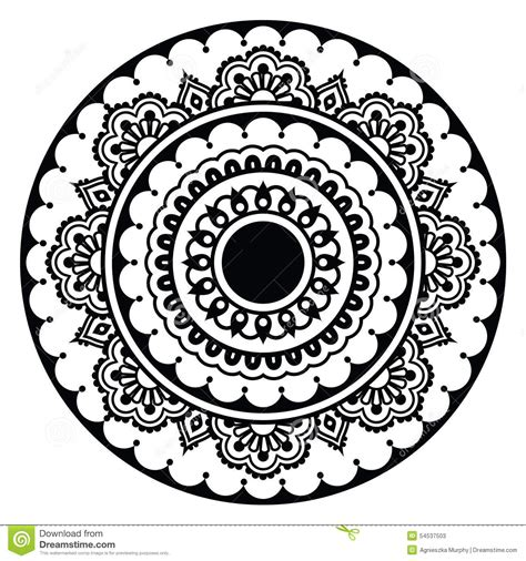 black and white round pattern mehndi indian henna floral tattoo round pattern stock