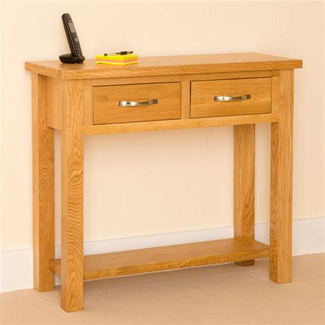Slim Hallway Table Newlyn Oak Console Light Oak Table Two Drawer Side End Table Ebay